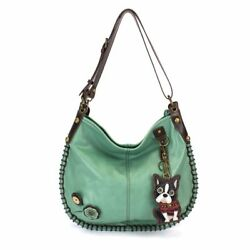 Chala CONVERTIBLE Hobo Large Tote Bag Pleather Teal Green gift Boston Terrier