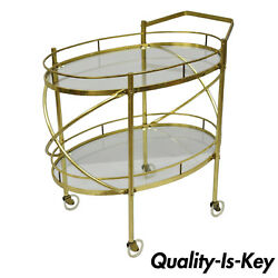 Two Tier Brass And Glass Oval Bar Cart Mid Century Modern Serving Trolley Table