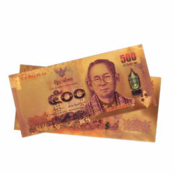 100pcs Color Thailand 500 Baht Collection Gold Plated Banknote Money Artwork