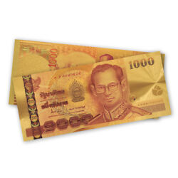100pcs Collectible Thailand Colorful Gold Banknote 1000 Baht Gold Foil Bank Note