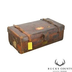 Antique Leather Travelers Trunk Or Large Suitcase