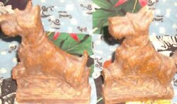 Vintage Syroco Wood Scotty Dog Scottish Terrier Book Ends Retro Wood Like