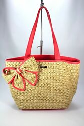 Kate Spade Tote Belle Place Raffia Shoulder Bag Bow Pink Straw Woven Large Beach