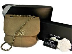Authentic Chanel Gold Crossbody Leather Bag with Chain Women's Bags