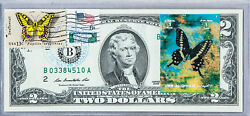 Paper Money Us Dollar Bills National Currency Note 2 2009 Unc Stamped Butterfly