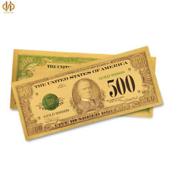 100pcs/lot 1918 Us 500 Dollar Gold Banknote Colored Novelty Money Gifts