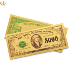 100pcs/lot 1918 Usa 5000 Gold Foil Banknote Currency Bill Golden Money Note