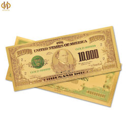 100pcs/lot 1918 Collectible Gold Plated 10000 Dollar Banknote Money Note Bill