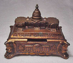 The National Capitol - Cast Silvered-lead - Nice Vintage Coin Bank