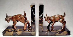 Goat On Marble Base/very Nice Circa 1940's Gray Metal Vintage Bookends/unmarked