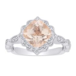 0.5 Ct Morganite And Natural Diamond Cocktail Engagement Ring In 14k Solid Gold