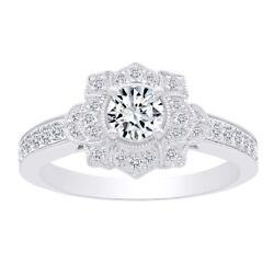 0.75 Ct Round Natural Diamond Flower Cocktail Engagement Ring In 14k Solid Gold