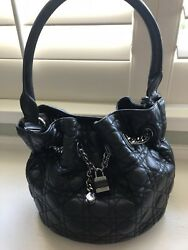 Authentic Lady Dior bucket Bag Black Lambskin Leather NWOT