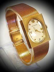 Rare And Vintage Lecoultre 14k Solid Gold Case And Band Laidess Wristwatch.. E