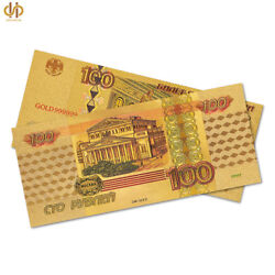 100pcs Gold Banknote Set Gold Plated Russian Money Currency Bill Collectible