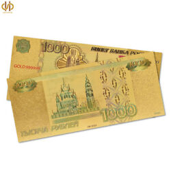 100pcs Souvenir Gold Banknote Russia Ruble Gold Fake Paper Money Collection