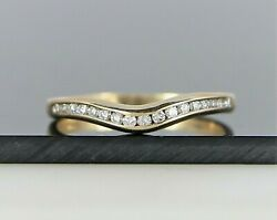 1295 14k Yellow Gold Round Diamond Channel Set Curve Wedding Band Ring Size 6