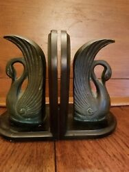 Price Reduced - Vintage Metal And Wood Swan Bookends - Rare