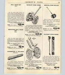 1947 Paper Ad Chiming Toy Poull Bell Toys Horse Cart Teddy Bear Gong Push