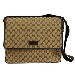GUCCI 233052 Messenger Bag GG Canvas Beige Mens Free Shipping Excellent #1397