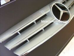 Silver Front Grille For 1989-2001 Mercedes Benz R129 SL-Class (STAR NOT INCLUDED