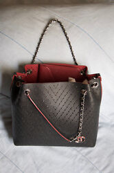 Chanel Perforated Shopping Tote Bag Purse - Black & Burgundy NEW