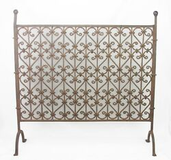 Antique Arts And Crafts Hand Wrought Iron Fireplace Screen