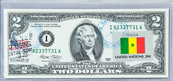 United States Currency Two Dollar Bill Federal Reserve Note Stamps Flag Senegal