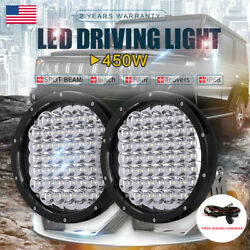 2x 9INCH 450W Cree Round Black LED Driving Work Lights Spot Lamp Offroad Truck