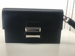 VERSACE BLACK LEATHER MENS CLUTCH BAG SILVER HARDWARE MADE IN ITALY