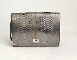 $3K Jason Wu Silver Snakeskin Leather Clutch Bag Purse Cocktail Evening Gold