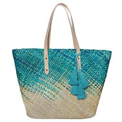 Straw Beach Tote Shoulder Bag Womens Large Washable Lining Leather handle
