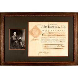 John Hancock - Document Signed - Appoints Battle Lexington & Concord Minuteman
