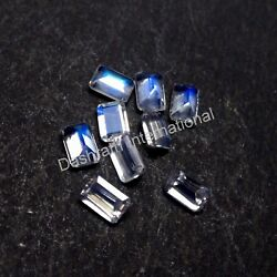 Natural Rainbow Moonstone Emerald Cut Calibrated Size VS Clarity Loose Gemstone