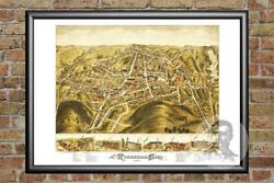 Old Map Of Rockville, Ct From 1877 - Vintage Connecticut Art, Historic Decor