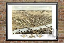 Old Map Of Attica, In From 1869 - Vintage Indiana Art, Historic Decor