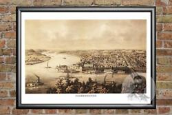 Old Map Of Parkersburg Wv From 1861 - Vintage West Virginia Art Historic Decor