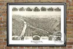 Old Map Of Grafton Wv From 1898 - Vintage West Virginia Art Historic Decor