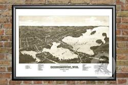 Old Map Of Oconomowoc Wi From 1885 - Vintage Wisconsin Art Historic Decor