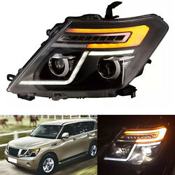 Right & Left Headlight For Nissan Patrol Y62 2010-2016 With LED Guide Light Bar