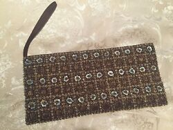 SETE  DI JAIPUR Brown Silk Boho Beads Bronze Embroidery Evening Clutch Wrist Bag