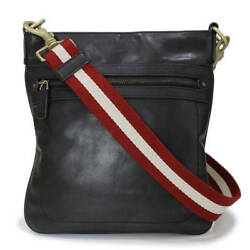 BALLY Shoulder Bag TAICHINO Dark Brown Red White Gold HW Leather Mens Mint #1189