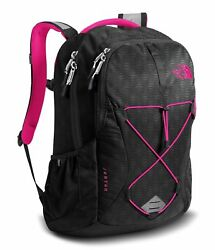 The North Face Womens Jester Backpack School Bag TNF Black Petticoat Pink NWT