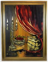 Original Oil Painting Gothic Candle Light Framed Signed