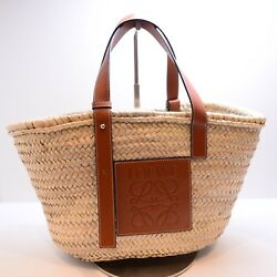 AUTH LOEWE NATURAL TAN CARRYALL WOVEN BASKET BUCKET TOTE SHOULDER LEATHER BAG