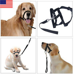 US Dog-Muzzle-Halti-Style-Head-Collar-Stop-Pulling-Halter-Training-Reign-Leashes