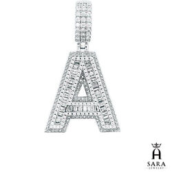 Real 925 Sterling Silver Baguette Stones Initial 1 Letter Charm Pendant Unisex