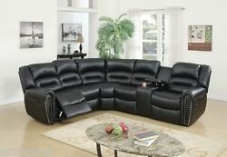 Black Bonded Leather Motion Sectional Loveseat w/ Console Recliner Wedge Plush