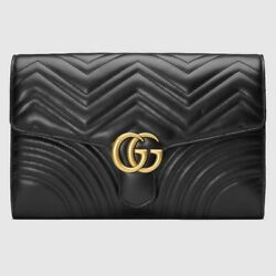 GUCCI MARMONT CLUTCH JUMBO LARGE BLACK CHEVRON HEART LEATHER BAG MATELASSE FLAP