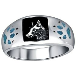 Mens Wedding Ring Silver Inlay Wolf With Paw And Claw New
